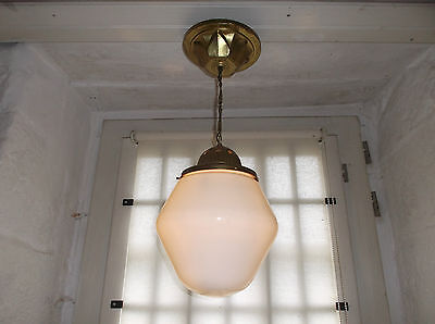French antique c.1930 - 40 Art Deco ceiling light brass frosted glass shade
