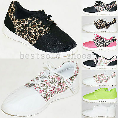 Ladies Running Trainers Women Fitness Gym Sports Causal Pumps Lace Up Shoes Size