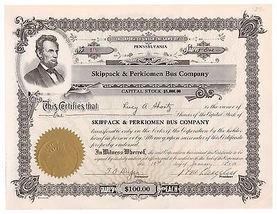 19-- Skippack & Perkiomen Bus Co. Pennsylvania Trolley Stock Certificate No. 10