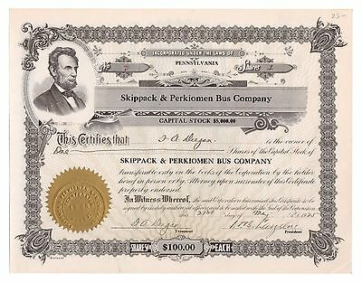 1925 Skippack & Perkiomen Bus Co. Pennsylvania Trolley Stock Certificate No. 7