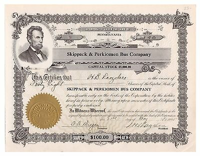 1925 Skippack & Perkiomen Bus Co. Pennsylvania Trolley Stock Certificate No. 8