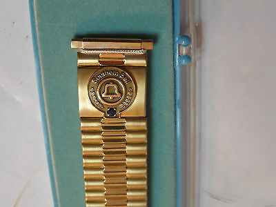 New Vintage Southern Bell Telephone Watchband! Speidel! Flexible! Gold! Nos! Usa