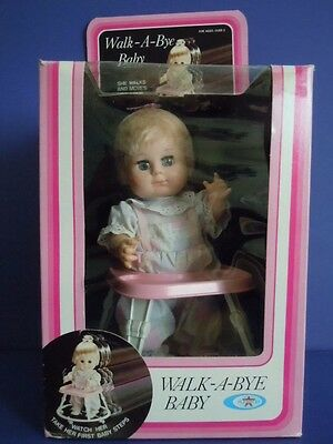"""Rare Vintage 1982 Playmates Doll On A Moving Walker """" Walk-A-Bye Baby """"real Baby"""