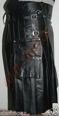 "Mens PU Leather Gladiator Kilt Pleated Top Quality/ size available 28"" To 60"""