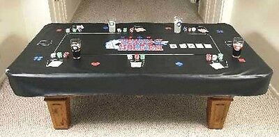 7 Foot Pool Table Cover -Texas Hold'em Gaming Black Nagahyde Billiard Cover