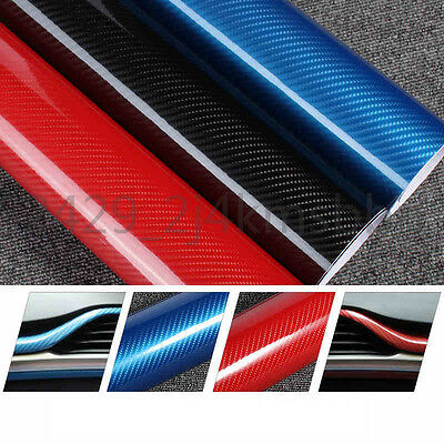 5D Shiny Gloss Glossy Carbon Fiber Film Wrap Vinyl Decal Car Auto Sticker Sheet