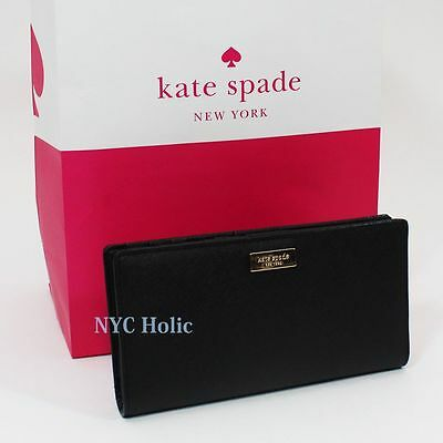 NEW Kate Spade Newbury Lane Stacy Clutch Wallet Black Saffiano WLRU1601