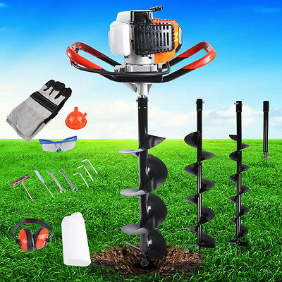 Petrol Earth Auger Post Hole Diggers Borer Fence Ground Drill 3 Bits 52CC