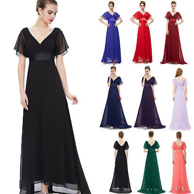 2017 Women Short Sleeve Long Evening Party Formal Prom Casual Dresses Gown AU