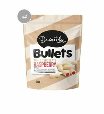 907809 4 x 200g DARRELL LEA WHITE CHOCOLATE RASPBERRY COATED LIQUORICE BULLETS