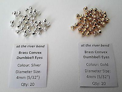 "4mm (5/32"") Fly Tying Convex Dumbbell Eyes - choose from gold or silver"