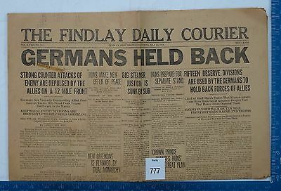 Set of Five Findlay Ohio WW1 Newspapers July 1918, Own a piece of US History!
