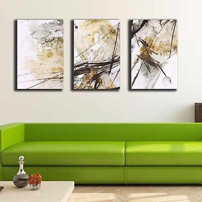 Set Of 3 Abstract Yellow Stretched Canvas Prints Framed Wall Art Decor Painting