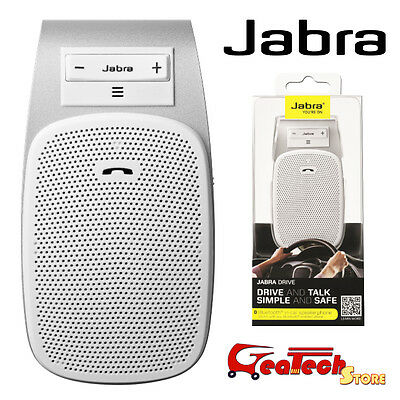 Vivavoce Auto Bluetooth Jabra Drive Bianco Universale Streaming GPS Multipoint
