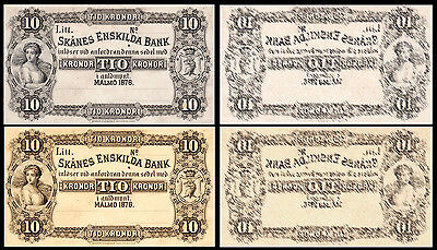 !Copy! 2 Sweden 10 Kronor 1876 Banknotes !Not Real!