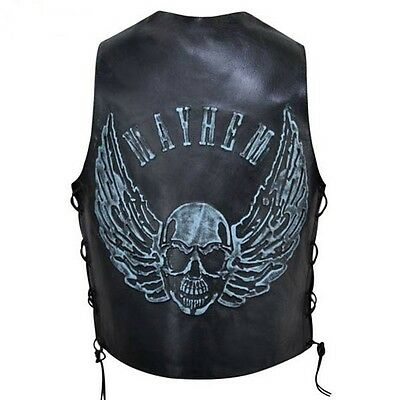 Mens Black Distressed Leather Biker Vest Waistcoat with Embossed Flying Skull