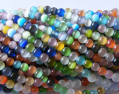100pcs 6mm Round Cats-eye Glass Beads - Mixed Colours
