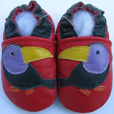 ✿ CHAUSSONS BEBE CUIR SOUPLE CAROZOO NEUF (toucan) ✿