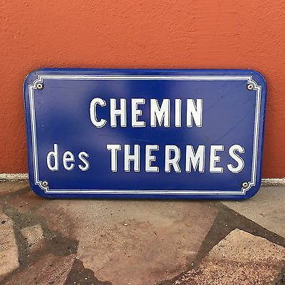 Old French Street Enameled Sign Plaque - vintage chemin des thermes