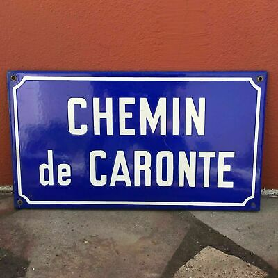 Old French Street Enameled Sign Plaque - vintage caronte