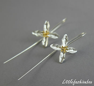 """Sterling Silver Hand Crafted Flower Long Back Fine Earring UK New 3.4g 2.67"""""""