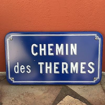 Old French Street Enameled Sign Plaque - vintage chemin des thermes 2