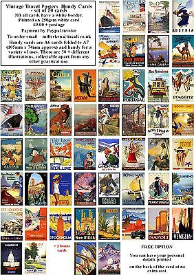 Handy Cards-50 All Different Vintage Travel Posters  A7 Cards (A6 Folded To A7)