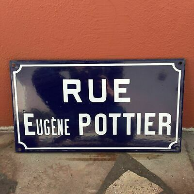 Old French Street Enameled Sign Plaque - vintage pottier