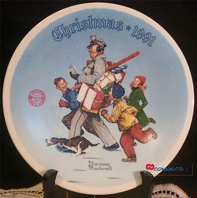 Edwin M Knowles Christmas 1991 Norman Rockwell Santas Helper Plate