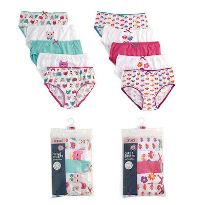 New Girls Child Kids Boys Cotton Briefs Pants Underwear Multi 5 Pack 2-8 Years