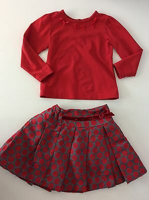 SARAH LOUISE 2 Piece Set Outfit Age 3 Years 36months 98cm Red Grey Skirt Top
