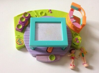 Vintage Polly Pocket Gym Turnfest Trampoline Mattel Toys With Figures Playset