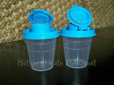 Tupperware MIDGET SALT AND PEPPER SHAKERS Travel Mini Small NEW  EASTER BLUE