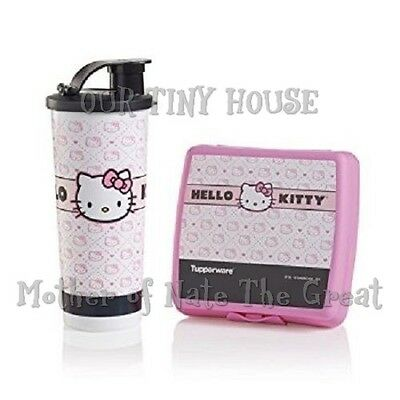 Tupperware Hello Kitty Lunch Set Sandwich Keeper & 16 oz Tumbler Quilted New