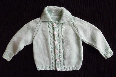 Baby clothes UNISEX BOY GIRL 0-3m aqua collar handmade knitted cardigan