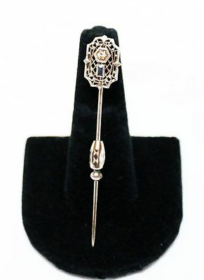 14K Vintage Filigree White Gold Diamond and Sapphire Stick Pin!