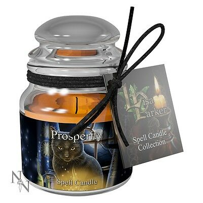 Spell Candle - Prosperity - Jasmine Scent - Mystic Cat Design by Lisa Parker
