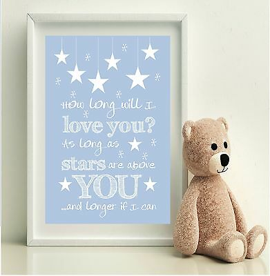Baby Boys BLUE Nursery Print ELLIE GOULDING lyrics How long will I love you?