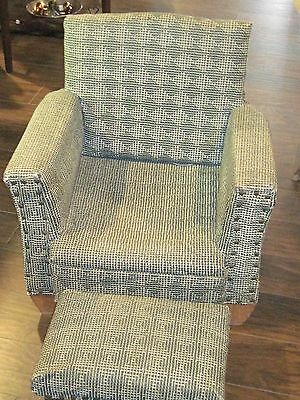 Midcentury modernism child chair with foot stool green checked vinyl