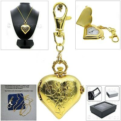 GOLD color Heart Women Pendant Watch 2 Ways Key Chain and Necklace Gift Box L29