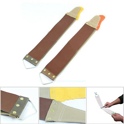 Pro Barber Leather Canvas Strop Straight Razor Sharpening Shaving Strap US