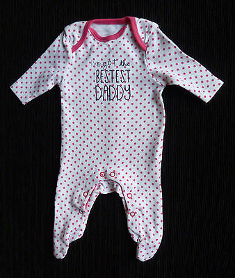 Baby clothes GIRL premature/tiny<7.5lbs/3.4kg white/pink spot F&F babygrow  NEW!