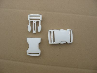 10  Boucles clic clac attache rapide larg.20 mm blanches