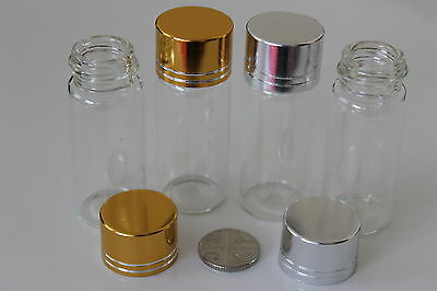 Small Clear 22x60mm Glass Bottles Vials With Screw Top Cap - Gold or Silver Top
