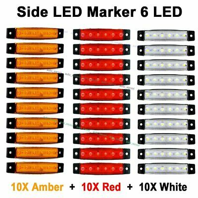 10X Red + 10X Amber + 10X White 12V 24V LED 6 Side 6 SMD Marker Rear Light Truck