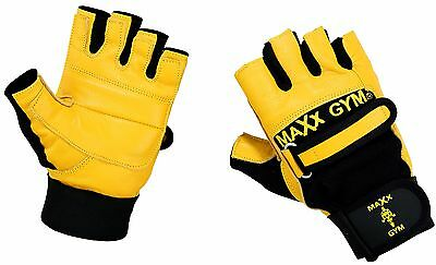 Maxx Weight lifting body building gloves Gym Strap Training Flex Leather Gloves