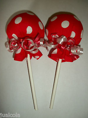 Girl Red White Dots Minnie Mouse No Scratch Mitten Lollipops  Baby Shower Favor