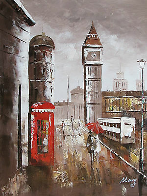 romantic London English large oil painting canvas modern contemporary original