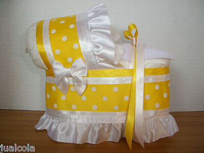 Beautiful Yellow White Neutral  Diaper Bassinet Carriage Baby Shower Centerpiece