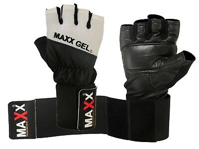 Maxx Gel LEATHER Weight Lifting Body Building Gloves Gym Straps Bar Training BAG